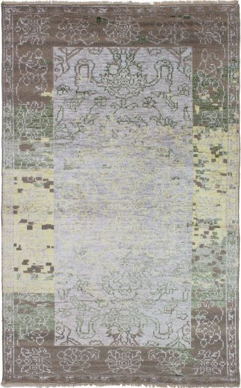 Bordered  Casual Grey Area rug 5x8 Indian Hand-knotted 271575