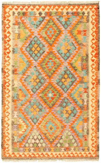 Bordered  Geometric Multi Area rug 3x5 Turkish Flat-weave 329990