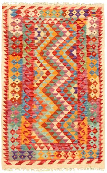 Bordered  Geometric Multi Area rug 3x5 Turkish Flat-weave 330246
