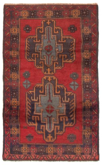 Bordered  Tribal Red Area rug 3x5 Afghan Hand-knotted 357514
