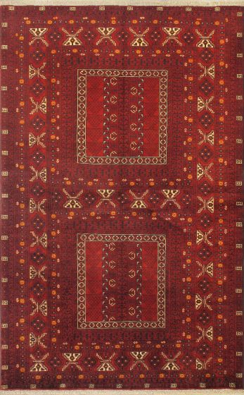 Tribal Red Area rug 5x8 Afghan Hand-knotted 18548