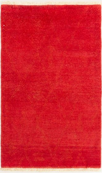 Casual  Transitional Red Area rug 3x5 Indian Hand-knotted 280513