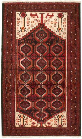 Bordered  Tribal Red Area rug 3x5 Afghan Hand-knotted 334065