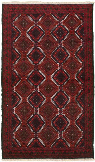 Bordered  Tribal Red Area rug 3x5 Afghan Hand-knotted 334948