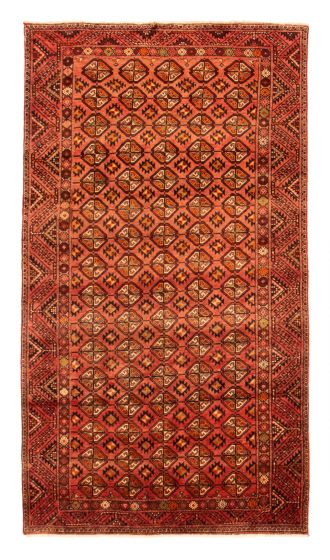 Bordered  Tribal Red Area rug 5x8 Afghan Hand-knotted 351621