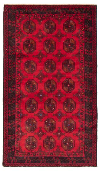 Geometric  Tribal Red Area rug 4x6 Afghan Hand-knotted 367538