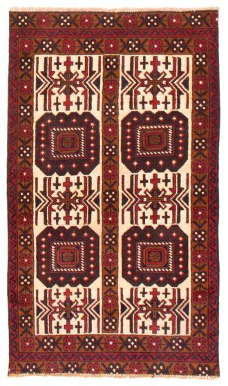 Geometric  Tribal Ivory Area rug 3x5 Afghan Hand-knotted 367544