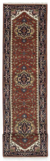 FloralTraditional Orange Runner rug 12-ft-runner Indian Hand-knotted 207399