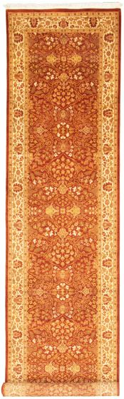 Bordered  Traditional Brown Runner rug 17-ft-runner Pakistani Hand-knotted 330325