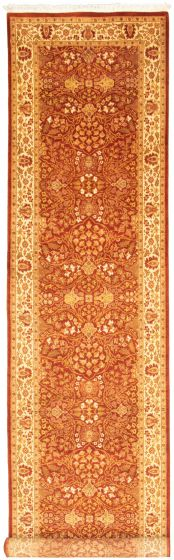 Bordered  Traditional Brown Runner rug 14-ft-runner Pakistani Hand-knotted 330326