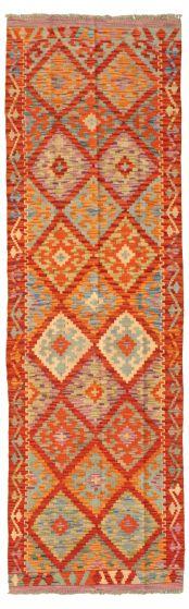 Bordered  Geometric Red Runner rug 8-ft-runner Turkish Flat-weave 331208