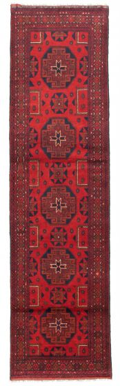 Bordered  Traditional Red Runner rug 10-ft-runner Afghan Hand-knotted 342342