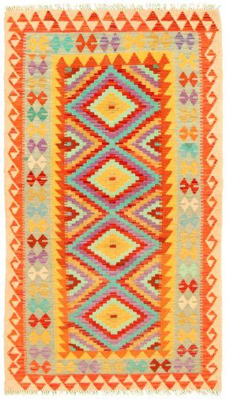 Bordered  Geometric Multi Area rug 3x5 Turkish Flat-weave 330202
