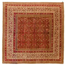 Indian Antique Agra I 9 7 X 9 9 Hand Knotted Wool Red Rug Ecarpetgallery