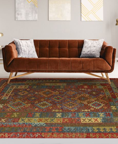 Flat-weaves & Kilims  Traditional Red Area rug 6x9 Turkish Flat-weave 212121