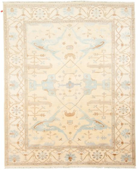 Traditional Ivory Area rug 6x9 Indian Hand-knotted 313405