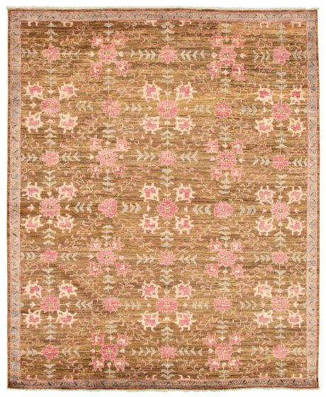 Bordered  Transitional Brown Area rug 6x9 Pakistani Hand-knotted 338778