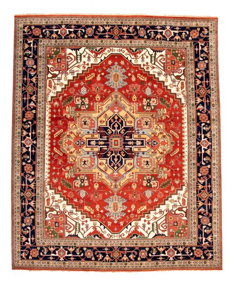 Bordered  Traditional Brown Area rug 12x15 Indian Hand-knotted 345030