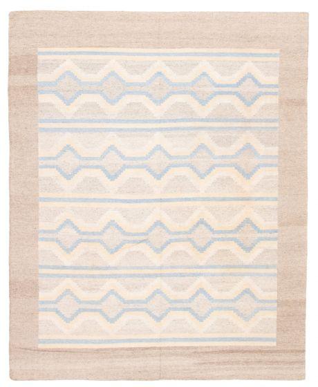 Bordered  Transitional Grey Area rug 6x9 Turkish Flat-Weave 349349