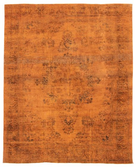 Bordered  Transitional Orange Area rug 8x10 Turkish Hand-knotted 360561