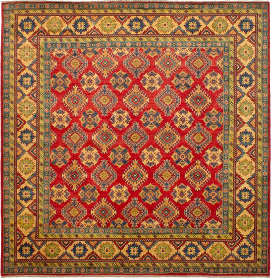 Bordered  Traditional Red Area rug Square Afghan Hand-knotted 272339