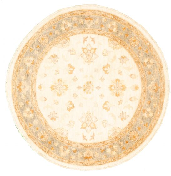 Bordered  Traditional Ivory Area rug Round Pakistani Hand-knotted 331482