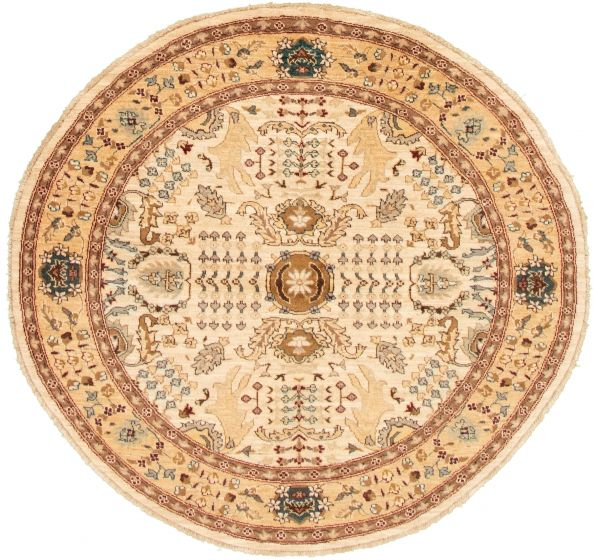 Bordered  Traditional Ivory Area rug Round Afghan Hand-knotted 331472