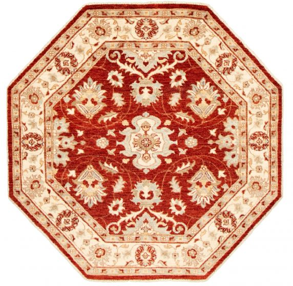 Bordered  Traditional Red Area rug Unique Afghan Hand-knotted 331529