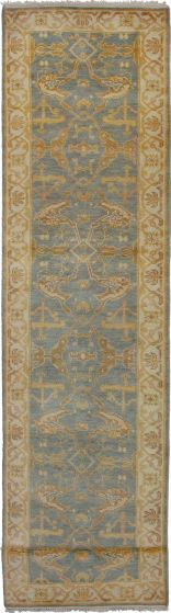 Bohemian  Traditional Grey Runner rug 16-ft-runner Indian Hand-knotted 271136