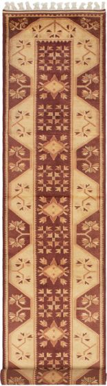 Bordered  Traditional Red Runner rug 13-ft-runner Turkish Hand-knotted 293673