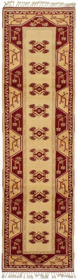 Bordered  Traditional Ivory Runner rug 10-ft-runner Turkish Hand-knotted 293710