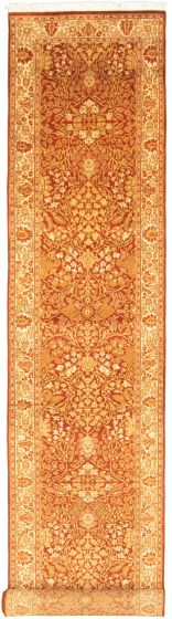 Bordered  Traditional Brown Runner rug 18-ft-runner Pakistani Hand-knotted 330321