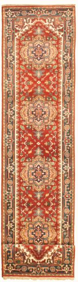 Bordered  Traditional Red Runner rug 12-ft-runner Indian Hand-knotted 331919