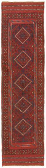 Bordered  Tribal Red Runner rug 8-ft-runner Afghan Hand-knotted 342476