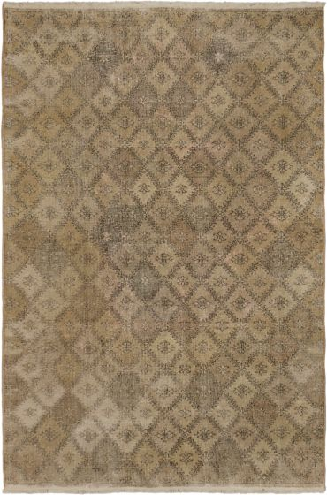 Transitional Ivory Area rug 6x9 Turkish Hand-knotted 163102