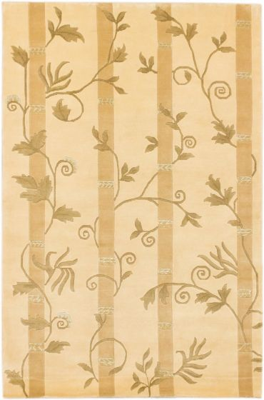 Casual Yellow Area rug 5x8 Nepal Hand-knotted 164060