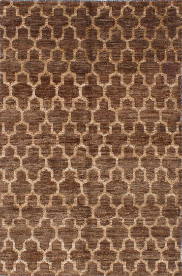 Transitional Brown Area rug 5x8 Indian Hand-knotted 222003