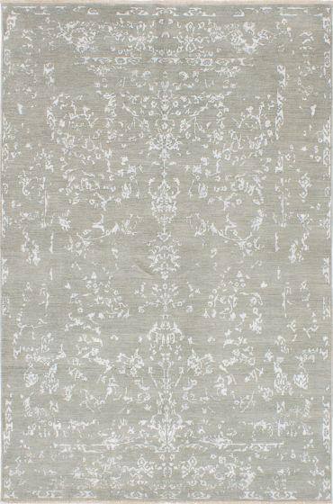 Transitional Blue Area rug 5x8 Indian Hand-knotted 223693