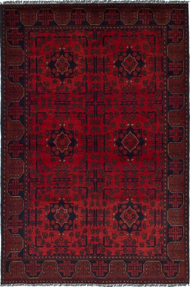 Traditional  Tribal Red Area rug 4x6 Afghan Hand-knotted 236269