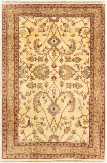 Bordered  Traditional Ivory Area rug 5x8 Afghan Hand-knotted 280243