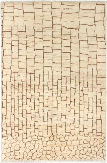 Moroccan  Transitional Ivory Area rug 5x8 Indian Hand-knotted 280310