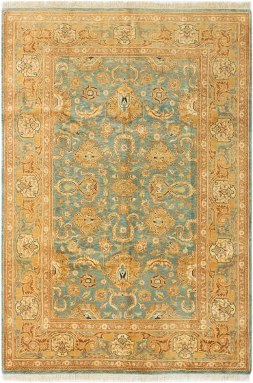 Bordered  Traditional Green Area rug 5x8 Afghan Hand-knotted 280373
