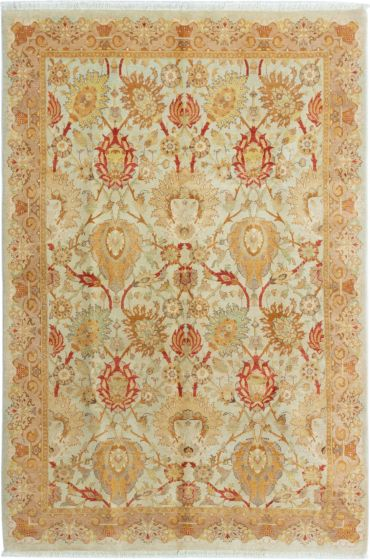 Bordered  Traditional Yellow Area rug 5x8 Pakistani Hand-knotted 280382