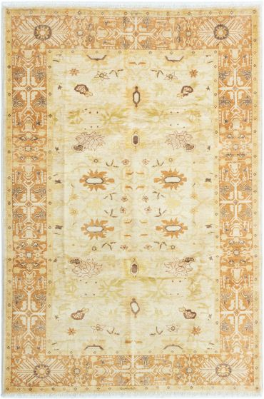 Bordered  Traditional Ivory Area rug 5x8 Afghan Hand-knotted 280389