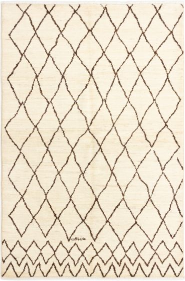 Casual  Transitional Ivory Area rug 5x8 Indian Hand-knotted 280491
