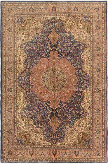 Bordered  Traditional Blue Area rug 6x9 Turkish Hand-knotted 280960