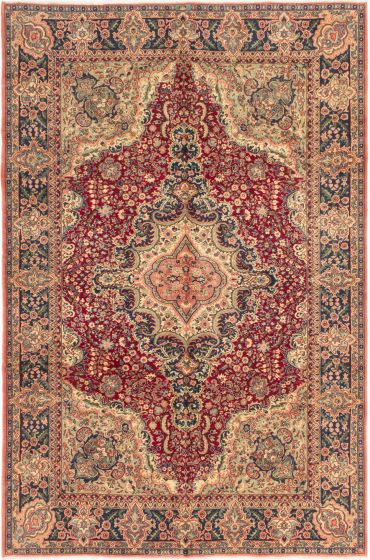 Bordered  Traditional Red Area rug 6x9 Turkish Hand-knotted 280980