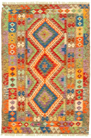 Bordered  Geometric Grey Area rug 3x5 Turkish Flat-weave 330207