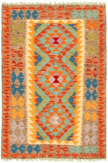 Bordered  Geometric Multi Area rug 3x5 Turkish Flat-weave 330222