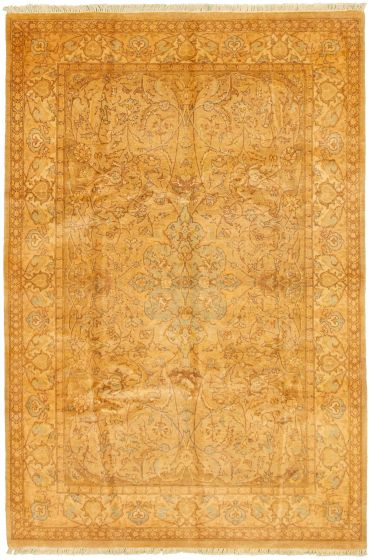 Bordered  Traditional Green Area rug 5x8 Pakistani Hand-knotted 330499